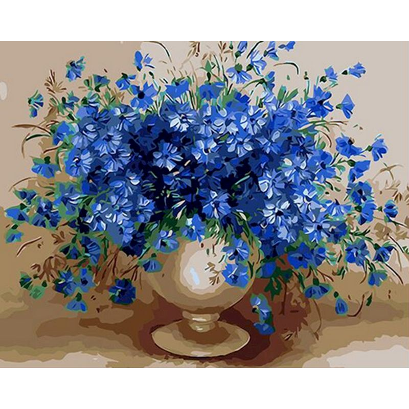 Painting By Numbers Blue temptation flowers bloom Landscape DIY Paint By Number Canvas for Kids & Adults gift Modern Home Decor-0
