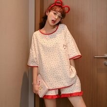 Women's pajamas summer women's polyester cotton short-sleeved pajamas small cherry shorts casual thin home pajamas