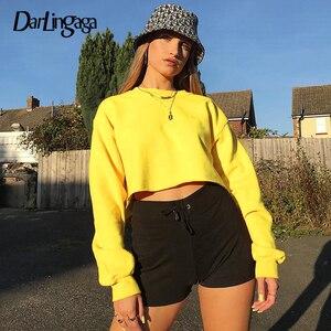 Darlingaga Streetwear Yellow Autumn Sweatshirt Pullover Cotton Solid Crop Top Hoodie Harajuku Sweatshirts Clothes Short Jumpers