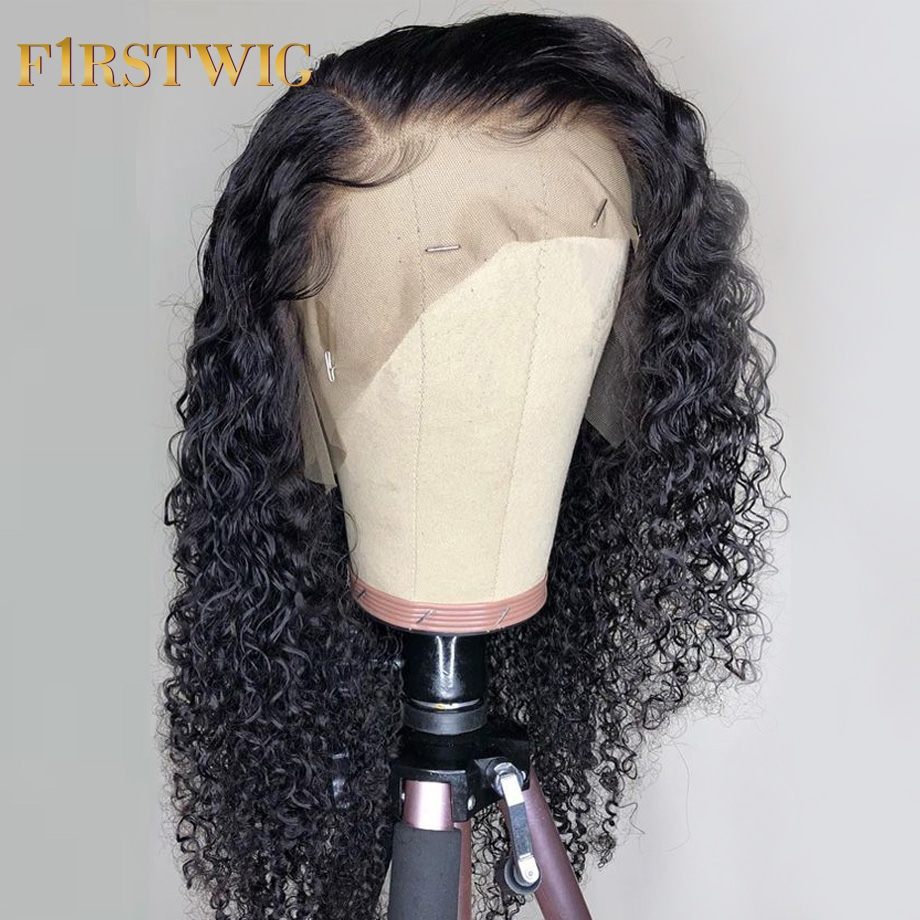Curly Lace Front Human Hair Wigs Fake Scalp Short For Black Women PrePlucked 13x6 Remy Afro Natural Hair Wig 130% 180% Firstwig