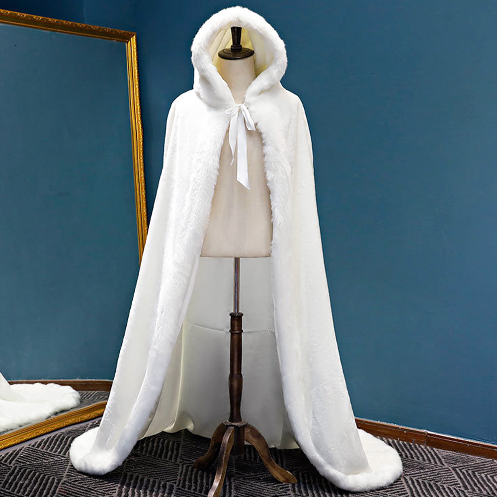 Winter Wedding Dress Bridal Hooded Long Cloak Cape Faux Fur Mantles Christmas