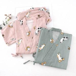 Image 2 - Ladies Spring And Fall New Pyjamas Set Cute Cartoon Kitten Printed Women Comfort Gauze Cotton Sleepwear Soft Thin Home wear