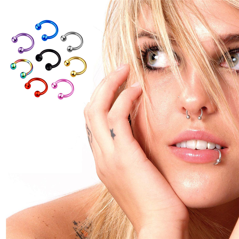 1Pcs 8mm Stainless Steel Fashion Round Ball Fake Nose Ring C Clip Septum Lip Piercing Falso Nose Rings Hoop For Women Men New