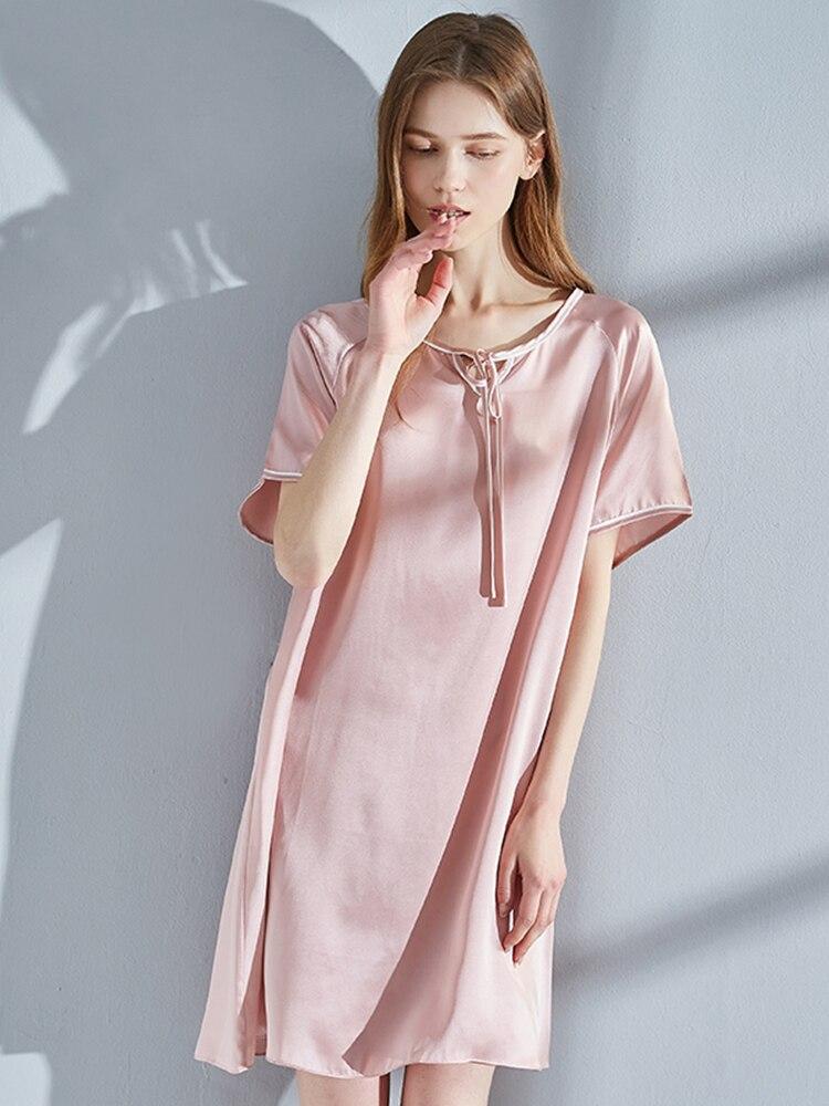 Nightdress Women Summer Pure Silk Nightgowns Femme Soft Bedgown Pink Sleeping Dress Home Clothes Natural Silk Dressing Gown