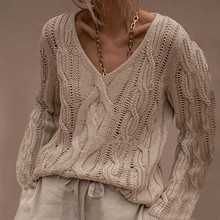Sweaters V-Neck for Women Long-Sleeve Fashion Solid-Color Winter Warm Pullover Knitted