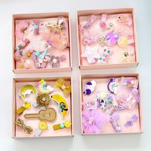 10Pcs girls Cute Hair Accessories Set Baby Fabric Bow Flower Hairpins Barrettes clips Girls Headdress Gift kids headwear