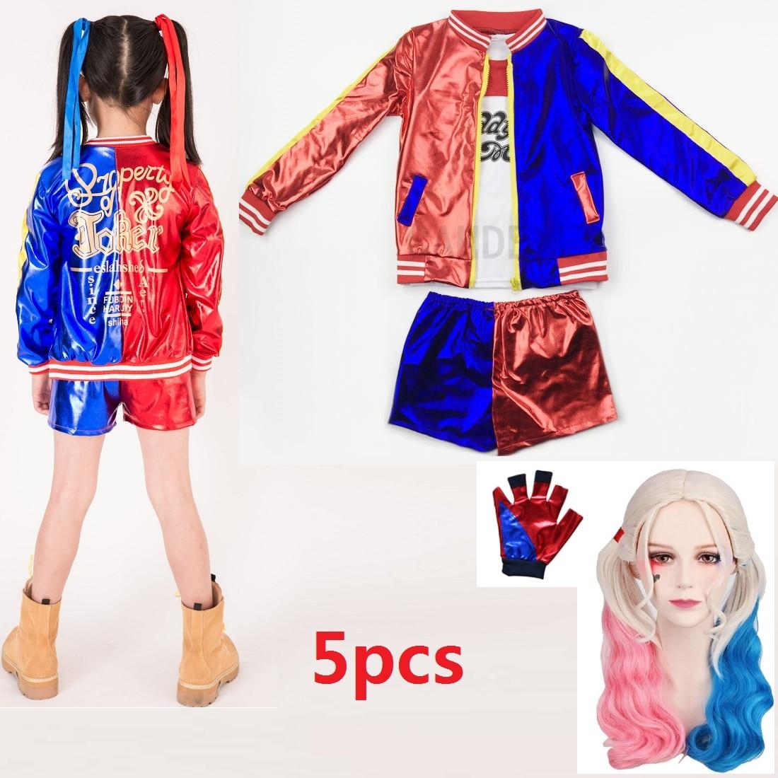 Детские костюмы для косплея отряд самоубийц Харли Квинн костюмы для девочек Пурим пальто куртка Бэтмен костюм для женщин