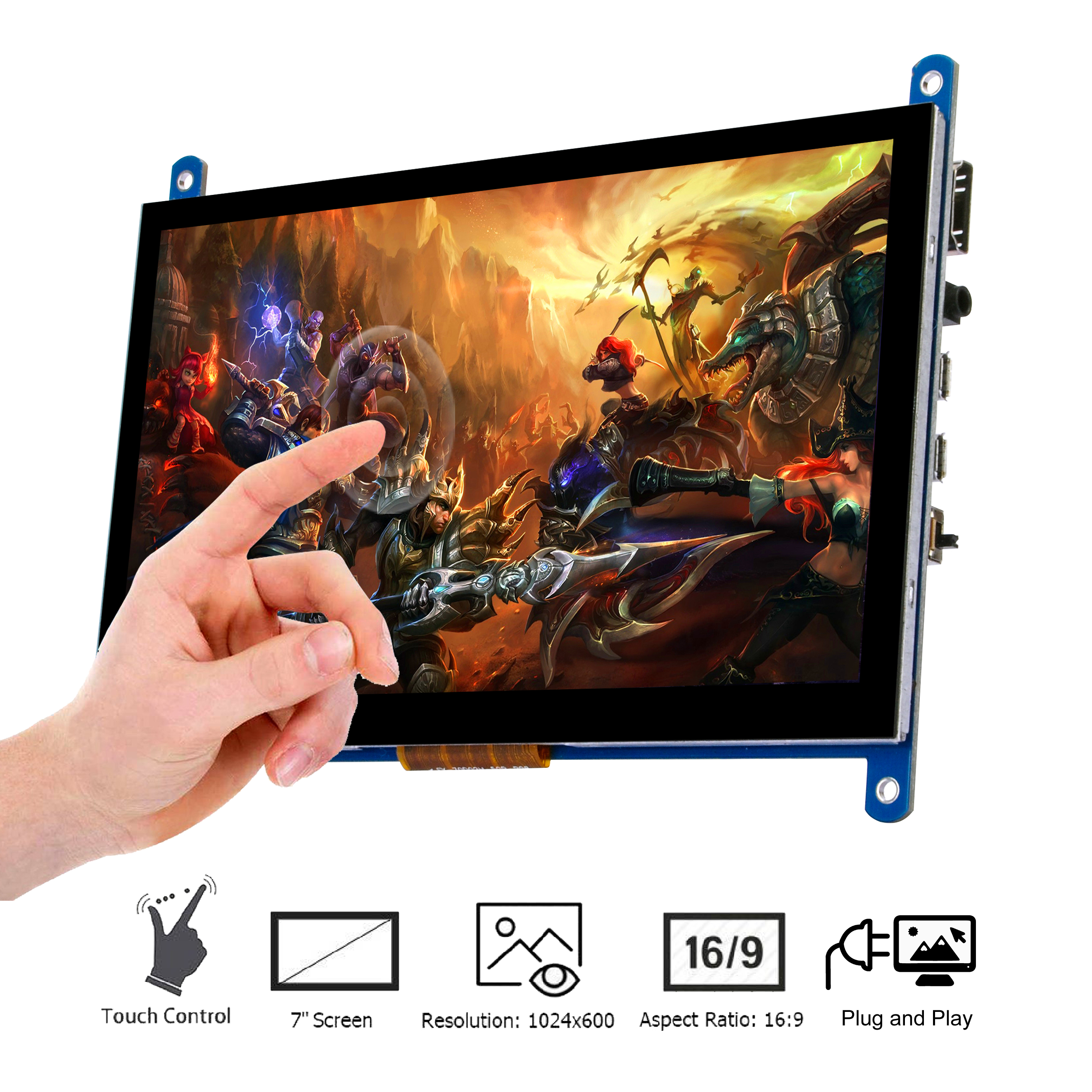 7 Inch Touch Screen Monitor Display HD 1024x600 Driver Free Plug and Play Capacitive Touch for Raspberry Pi,Computer,TV Box,DVR, image