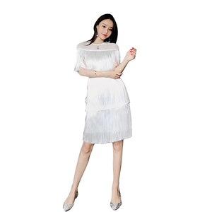 Image 2 - Kadınlar Vintage elbise yaz püskül katmanlı Vestido parti Clubwear saçak elbiseler plaj örgü sıkı moda bayanlar düz Midi elbise
