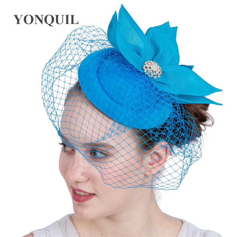 New Arrival Sea Blue Lady's Popular Kentucky Imitation Sinamay Fascinator Headpiece For Women Wedding Cocktail Church Party Hats