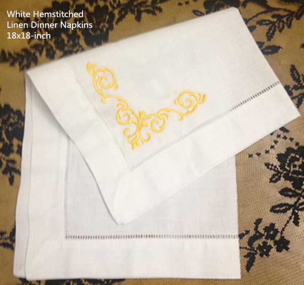 Set Of 12 Fashion Ninner Napkins White Hemstitched Linen Table Napkin With Color Embroidered Floral 18x18-inch