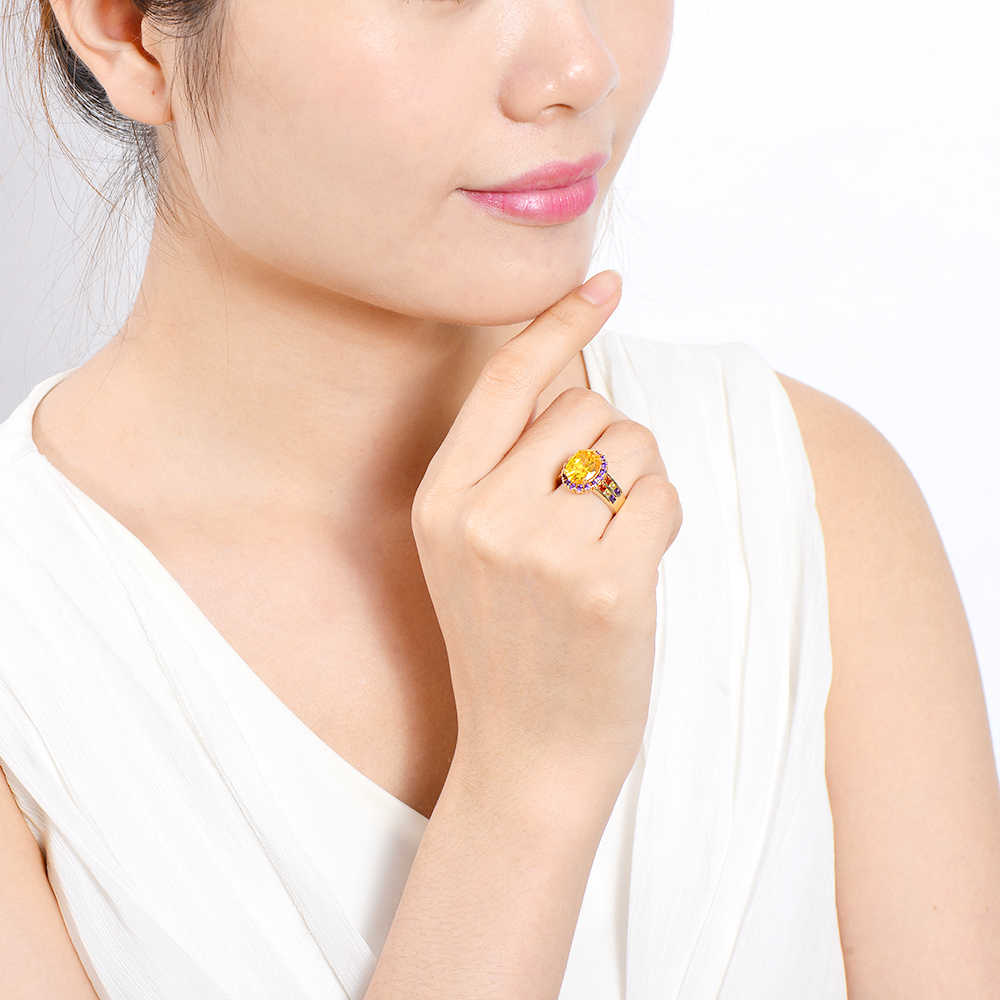 Nuevos anillos citrinos ovalados naturales de cristal dorado clásico anillo de piedras preciosas de plata 925 para la boda de las mujeres joyería elegante