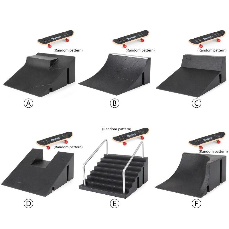 1 Set Fingerboard Rail Park Stair Kit Stairs Mini Skateboards for Kids Skateboard Training Mini Board Game
