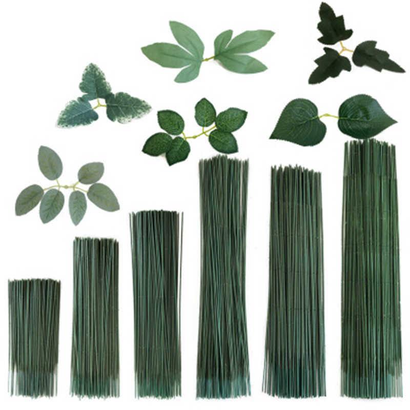 100PCS พลาสติกปลอมดอกไม้ STUB ลำต้นกระดาษดอกไม้ใบประดิษฐ์ดอกไม้ STUB Stems CRAFT Decor สบู่ดอกไม้ Stem