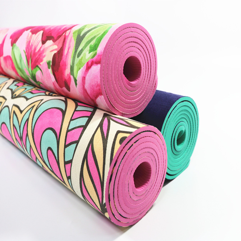 Ultra Thin Natural TPE Slip-resistant Yoga Mats Folding Fitness Mat High Temperature Suede Travel Printing Blanket 4