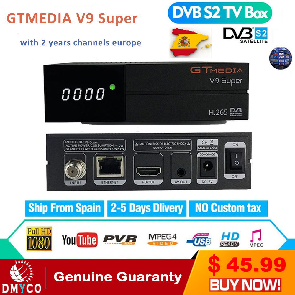 2 Years Europe Channels GT Media V9 Super Satellite Receiver DVB-S2 Full HD Satellite Receptor GTMedia Decoder Super TV Box