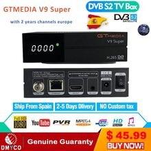 2 anos europa canais gt media v9 super receptor de satélite DVB S2 completo hd receptor de satélite gtmedia decodificador tv super caixa