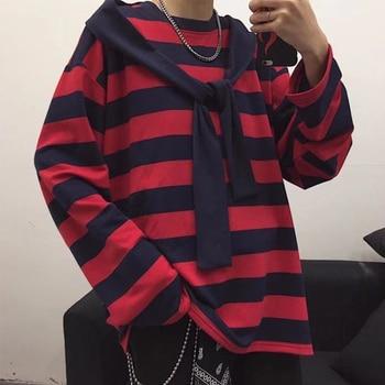 цены Trendy Fashion Punk Men Harajuku Black Red Striped T-shirt Male Loose Oversize Long Sleeve O-Neck T Shirt Tops Summer Boys Tees