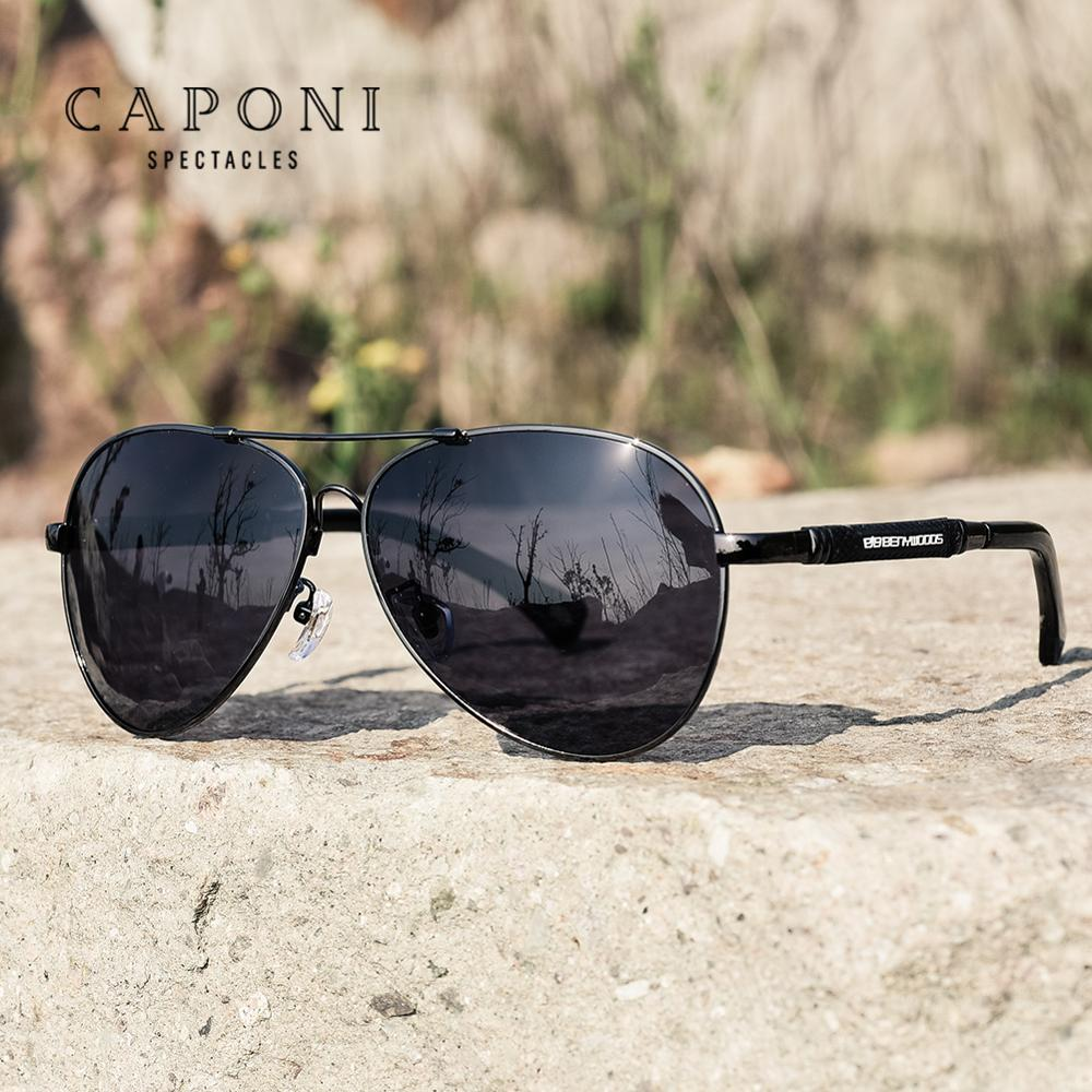 Image 3 - CAPONI Polarized Sun Glasses For Men Pilot Vintage Brand Designer Black Glasses Light Weigh Classic Shades For Male UV400 CP9812Mens Sunglasses   -