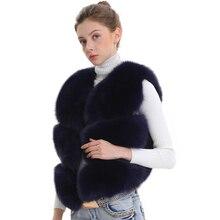 Chaleco de piel de zorro auténtica para mujer, chaleco de piel de zorro auténtica para mujer, chaleco de piel auténtica Natural para mujer
