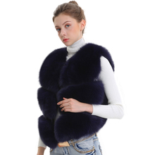 Mulheres real raposa pele colete feminino inverno outono genuína pele de raposa colete moda lady gilet natural real pele colete para mulher