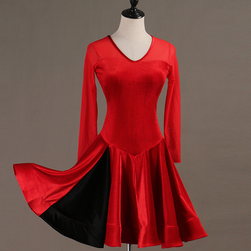 Latin Dance Dress Women/Girls Long Sleeve Black/Red Practice Velvet Clothes Rumba/Tango/Salsa/Ballroom Dance Costumes DQL3012