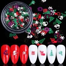 1 תיבת חג המולד נייל גליטר פתיתי אדום ירוק לבן שלג מתכתי Slice טיפ נייל 3D נצנצים ריינסטון סגסוגת קישוטי BE1046