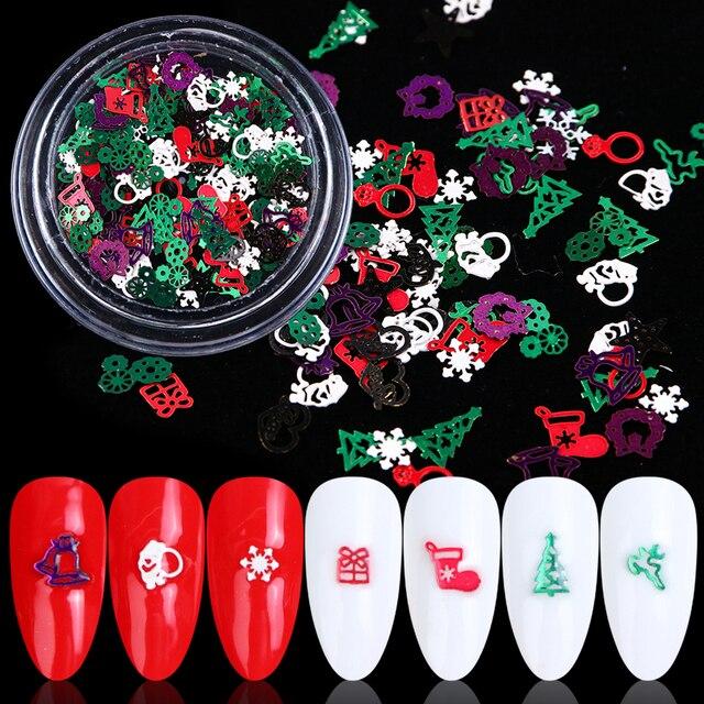 1 kutu noel tırnak Glitter pul kırmızı yeşil beyaz kar metalik dilim ucu tırnak 3D pullu Rhinestone alaşım süslemeleri BE1046