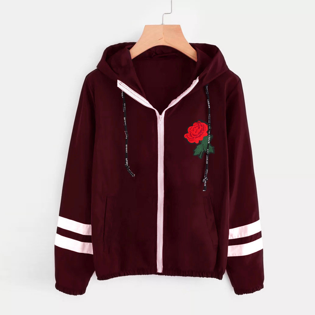 Women Basic Drawstring Jackets Female Hooded Coats Women Long Sleeve Rose Thin Skinsuits Hooded Zip Floral Pockets Sport Coat
