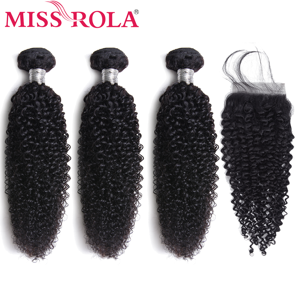 Miss Rola Non-Remy Hair Weave Bundles With Closure Natural Color Mongolian Kinky Curly 100% Human Hair 3 Bundles With Closure