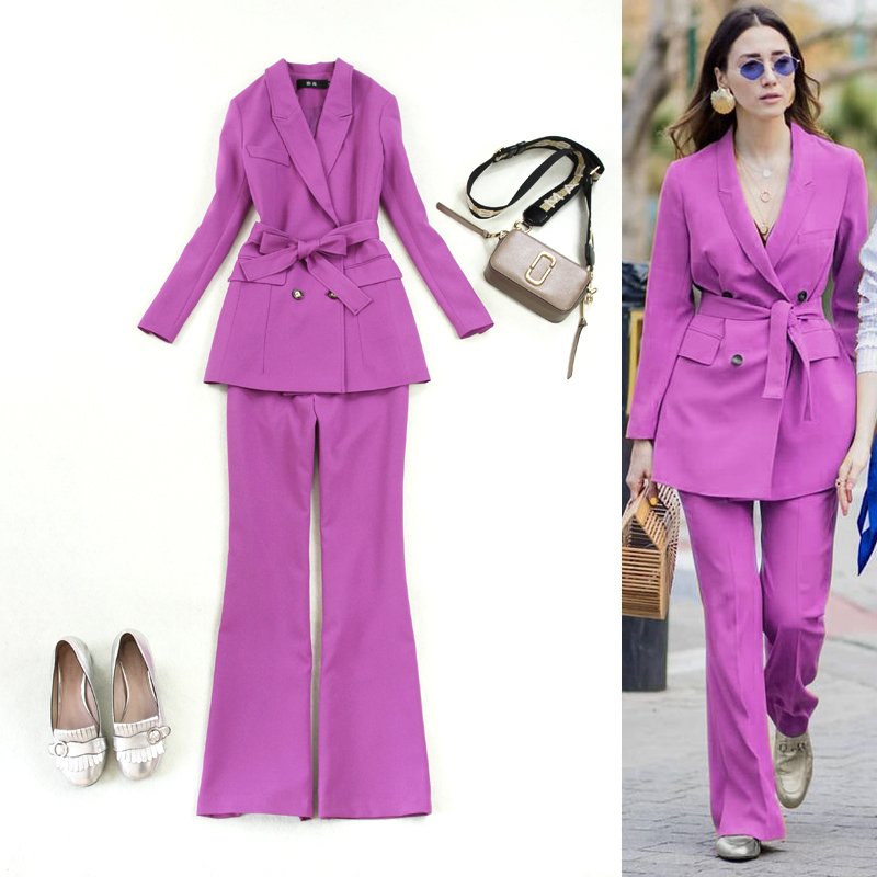 Women's suit spring and autumn new style purple lace double-breasted suit +flared trousers OLprofessional suit 2 piece set women
