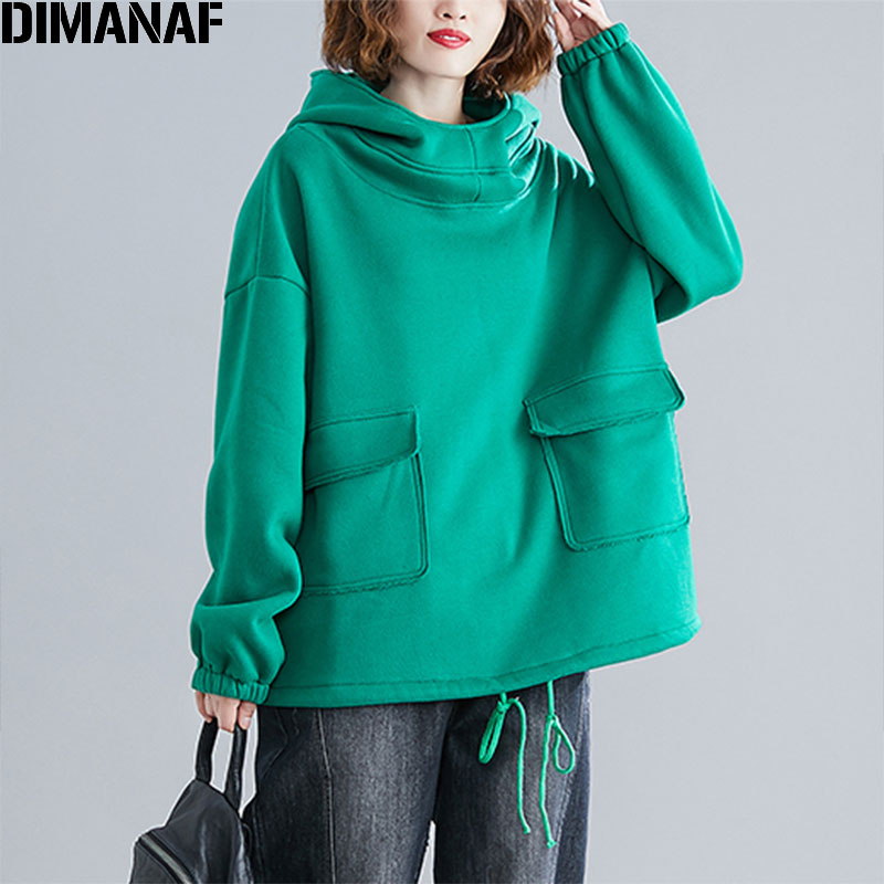 DIMANAF Autumn Winter Lus Size Women Hoodies Sweatshirts Female Lady Tops Pullover Turtleneck Hooded Cotton Thick Flocking Solid