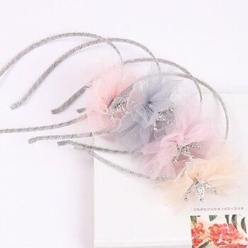ncmama Lace Net Yarn Crown Hairband for Girls Bezel Korean Fashion Princess Bow Headband Childrens Hair Hoop Accessories