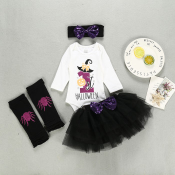 My First Halloween Girl Set - Romper + Tutu + Socks + Hairband