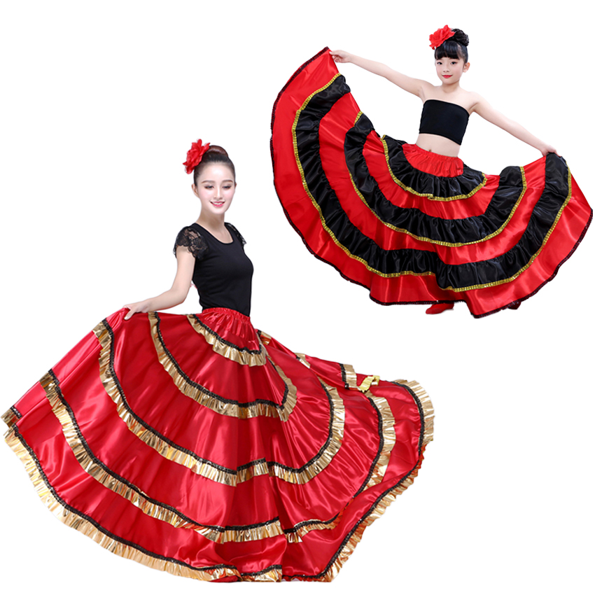 Adult Kids Female Spanish Flamenco Skirt Women Gypsy Girls Belly Dancing Costumes Kids Red Black Striped Big Swing Dress