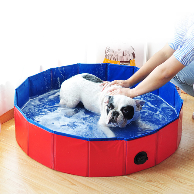 Dog Pool Foldable Dog Swimming Pool Pet Bath Swimming Tub Bathtub Pet Swimming Pool Collapsible Bathing Pool for Dogs Cats Kids 1