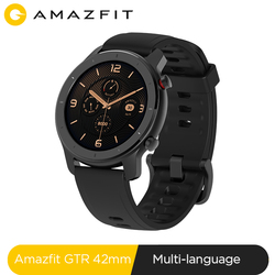 В наличии, глобальная версия, Новые смарт-часы Amazfit GTR 42 мм, 5ATM, умные часы, 12 дней, батарея, управление музыкой, для Xiaomi, Android, IOS