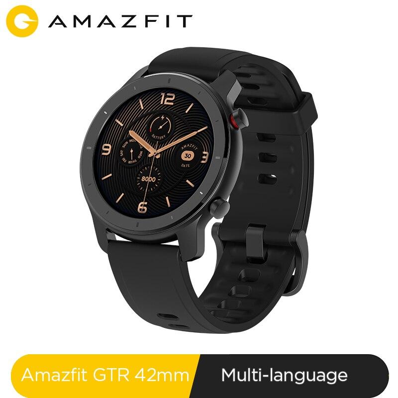 En existencia versión Global nuevo reloj inteligente Amazfit GTR 42mm reloj inteligente 5ATM 12 días batería Control de música para Xiaomi Android IOS