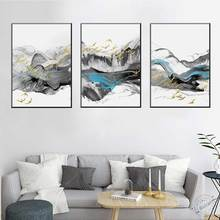 Modern Home Decoration abstract ink landscape artistic Gold Foil Bird Nordic Poster Canvas Painting Living Room Wall Artwork