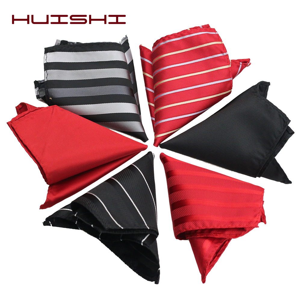 HUISHI New Tie Handkerchief Pocket Mens Wedding Paisley Red Black Pocket Squares Gift Men Ties Matching Handkerchiefs 22*22CM