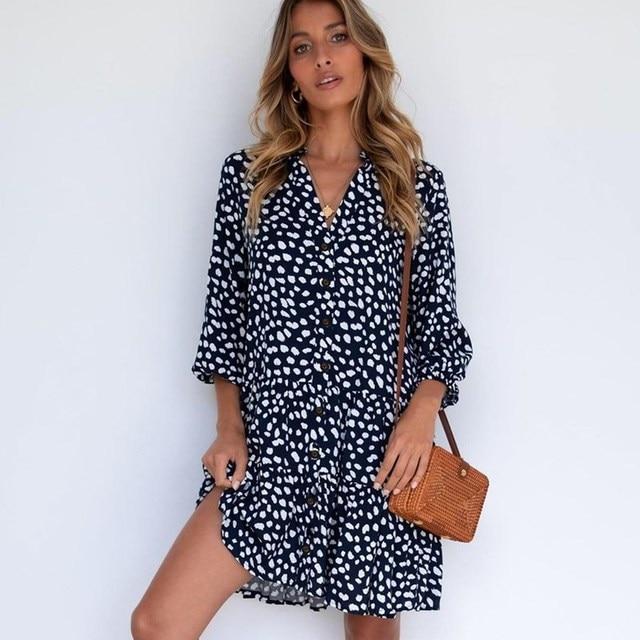 2021 Fashion Leopard Print Women Shirt Dress Summer Sexy V neck Single Breasted Three Quarter Casual Loose Short Dresses Vestido 3
