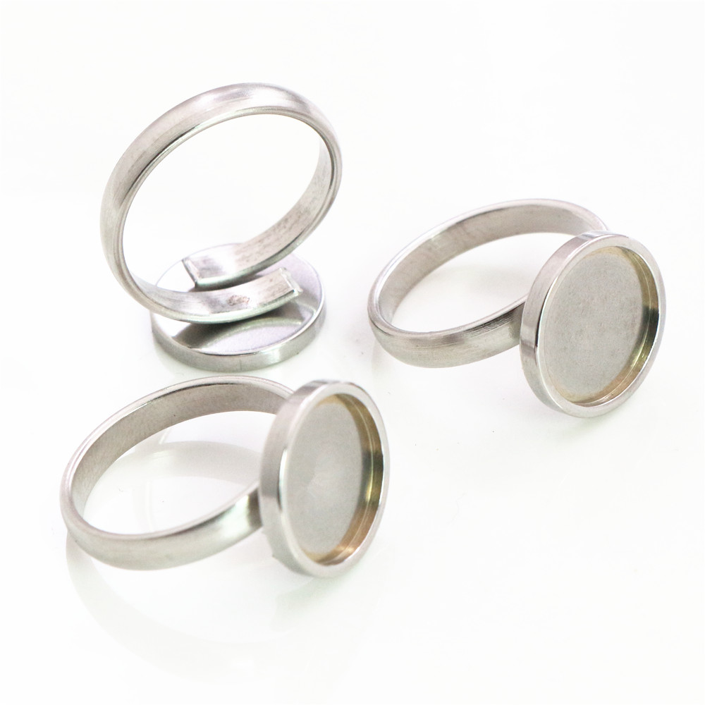12mm 5pcs/Lot No Fade Stainless Steel Adjustable Ring Settings Blank/Base,Fit 12mm Glass Cabochons,Buttons;Ring Bezels-I3-64