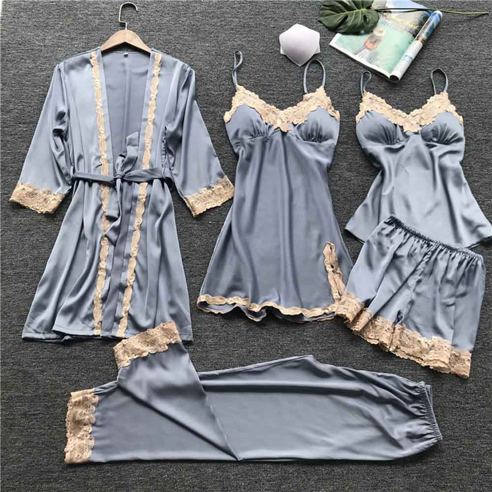 yinlinhe 5 Piece Set Silk Stan Soft Pijamas Women Sexy Sleevewear Lace nightie Summer Nightwear Sleeping Set nightgown Suit 1577(China)