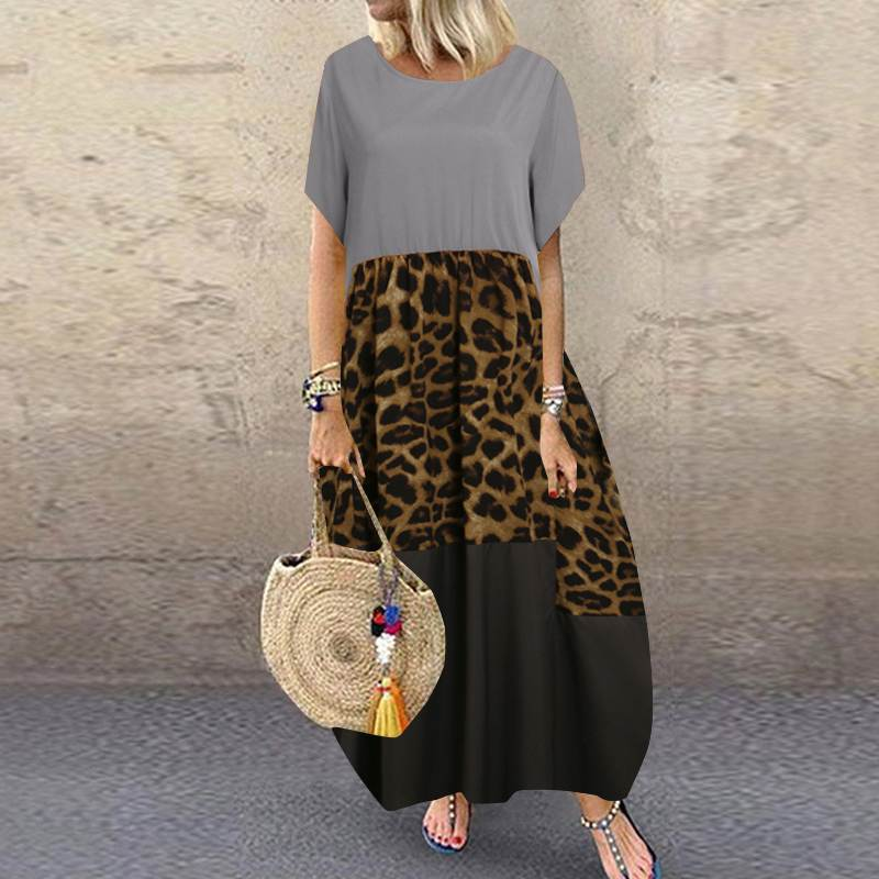 Summer Patchwork Dress Women Bohemian Leopard Print Sundress Vintage Short Sleeve Baggy Long Vestido Plus Size Dresses 27
