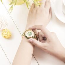 自然なヒスイ防水腕時計女性機械式時計ジャスパー視点中空ケース高クラフト救済内部リロイ Mujer