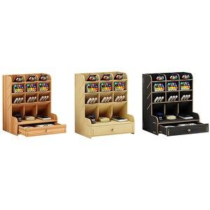 Image 5 - Multi fonction bois 13 grilles socle de bureau support cosmétique brosse boîte de rangement pour crayon stylo cosmétique brosse bijoux présentoir