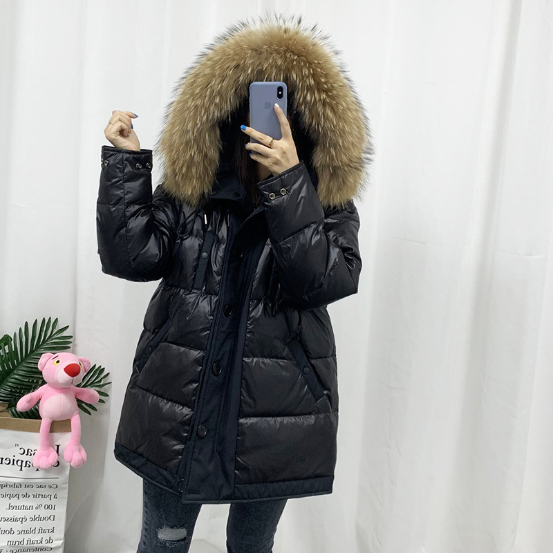 Warm Women/'s Winter Thicken Fur Collar Long Duck Down Jacket Coat Parka Hooded