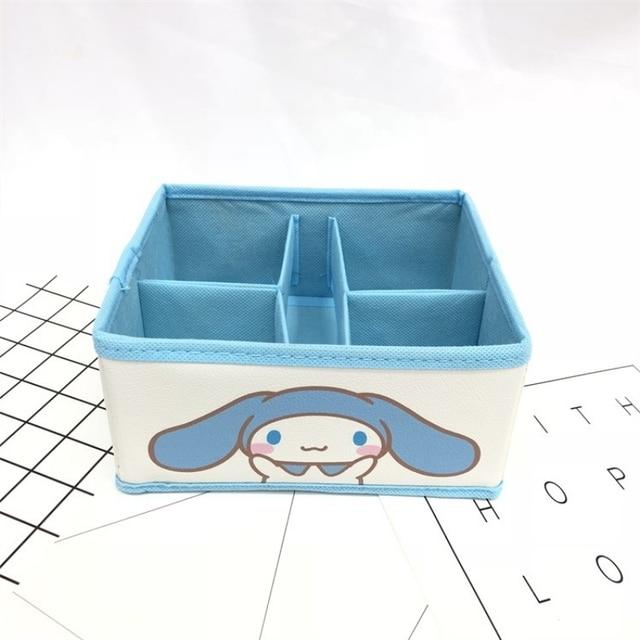 Cute Little white dog jade dog desktop storage box foldable four-grid small debris jewelry fragmented jewelry finishing box