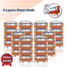 Lâminas de barbear manual 5 camadas cabeças de substituição de aço inoxidável caber 5 fitas de barbear para homem