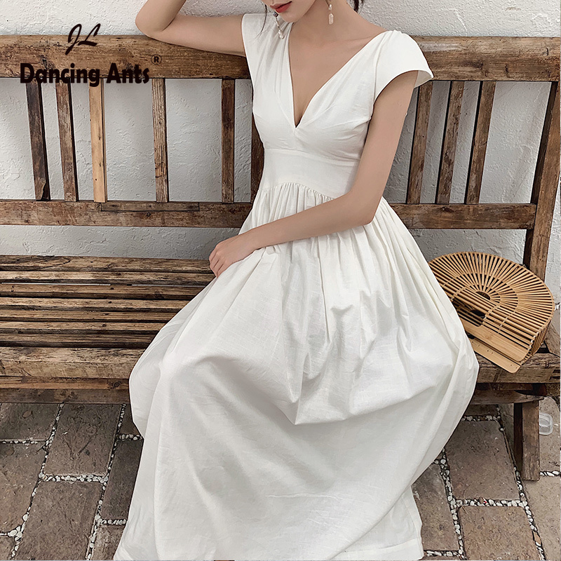 Woman Dress Sleeveless Deep V-neck Sexy Backless A-line Dresses Beach Style Solid Linen Elegant Ankle Length Dress 2020 Summer